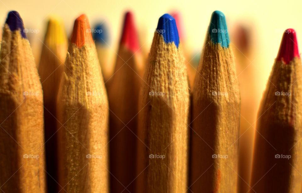 Close-up photo of colored pencils