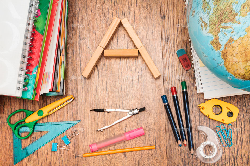School stationeries on table