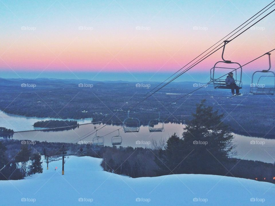 Skiing in the Sunset