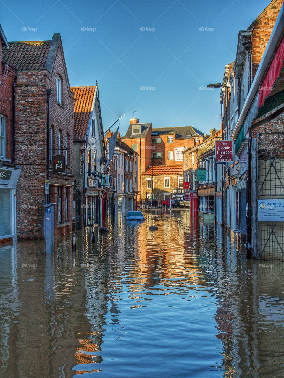 The flooded streets of York in England after heavy rainfall made The River Ouse burst its banks again.