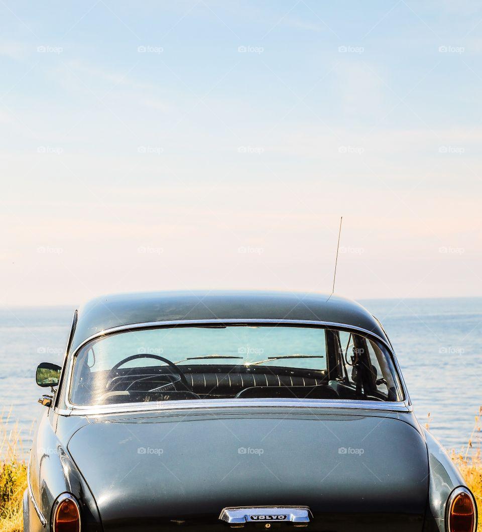 Vintage car. Vintage car by the beach