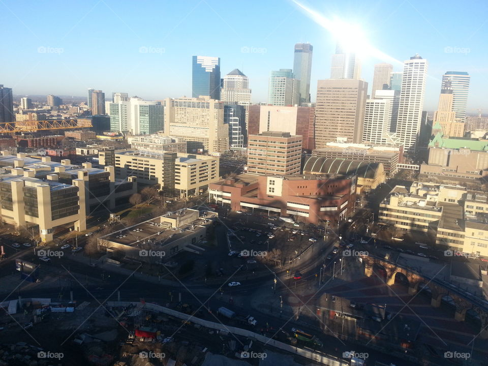 Minneapolis from atop the Stadium. This is West looking from the top of the Viking Stadium truss during construction