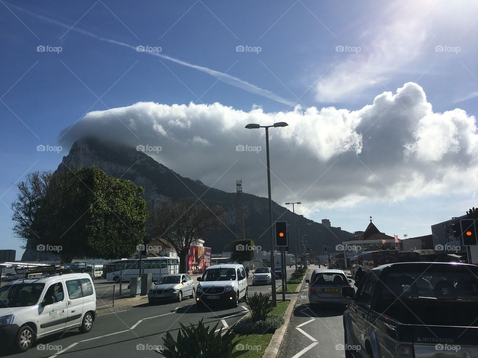 Rock of Gibraltar- cloud- sky - travel - places Tourism -history