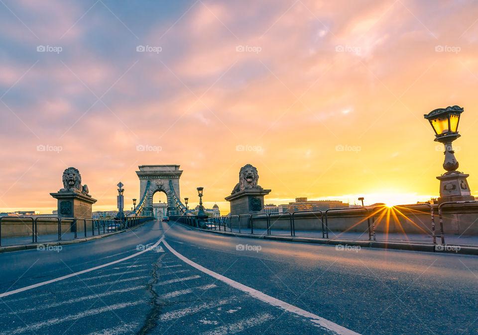 Budapest chain bridge during sunset