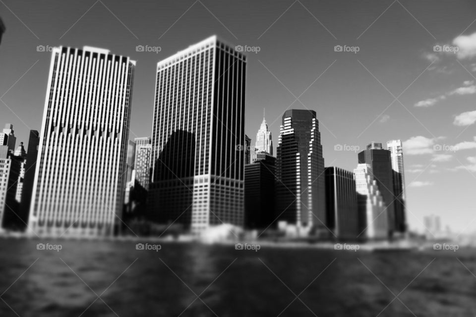 Monochromatic New York City Skyline, New York City Buildings, Black And White Cityscape, Skyscrapers On The Water, Blurred Vision, From The Water