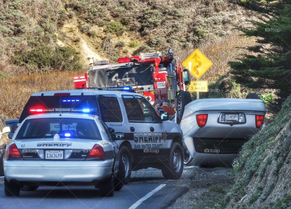 First Responders At Car Crash. Car Crash