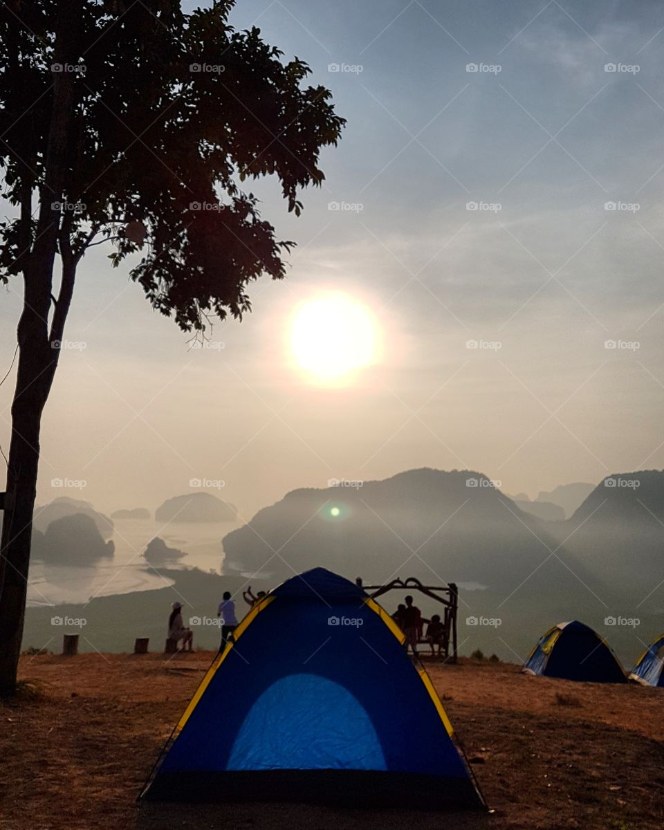 Sunrise camping Phang Nga bay