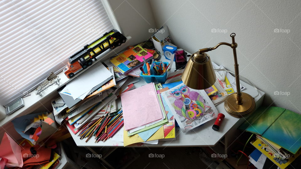 Disorganized study desk