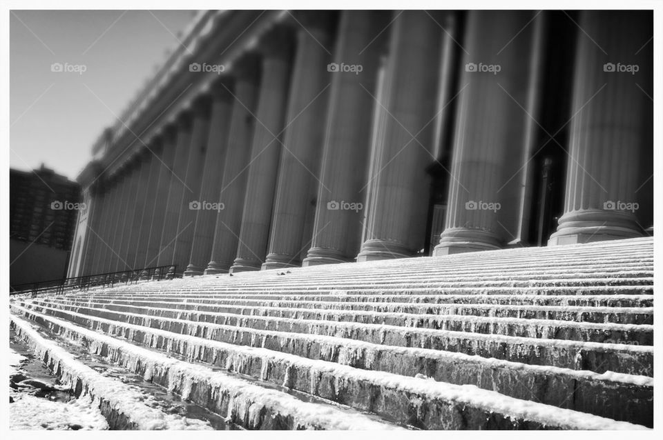 Icy steps outside the 34th Street post office