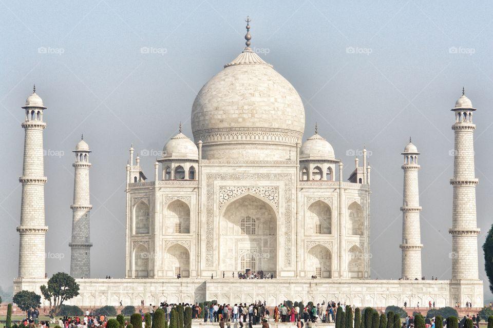 Long Wide shot of The Taj Mahal, Agra, India . Long Wide shot of The Taj Mahal, Agra, India