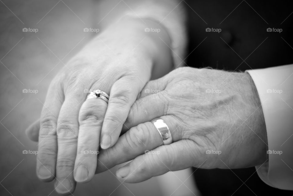 Older couple ties the knot...in black and white