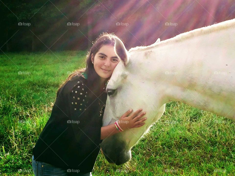 Girl and her horse, beautiful friendship