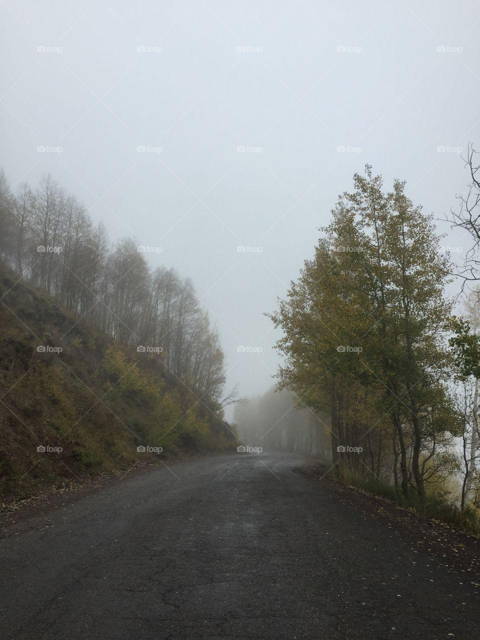 Guardsmen pass. Back side of summit on foggy rainy autumn day