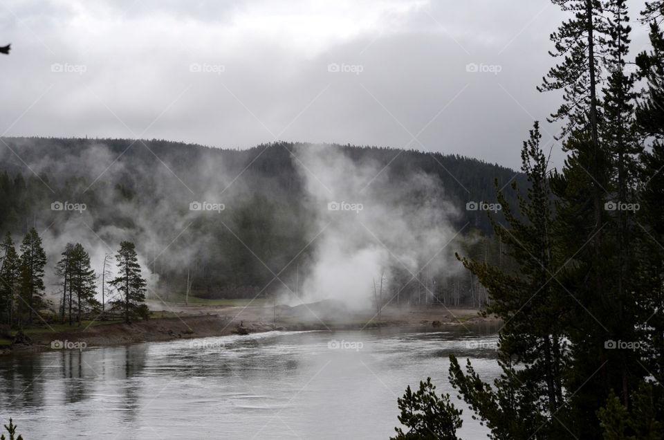 steam mist in Yellowstone