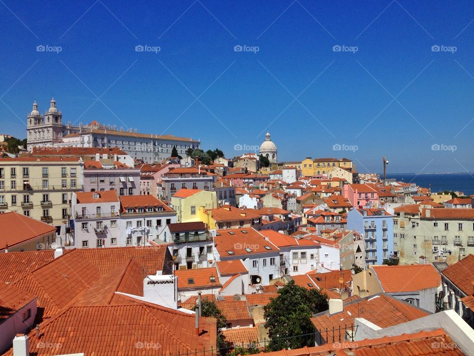 Lisbon in Portugal. View over Lisbon city the old district of Alfama