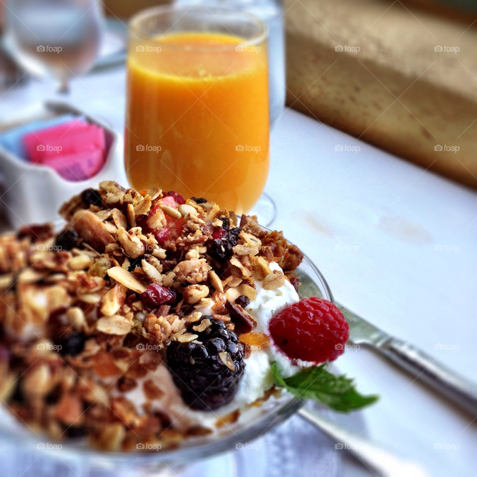 Delicious breakfast with juice