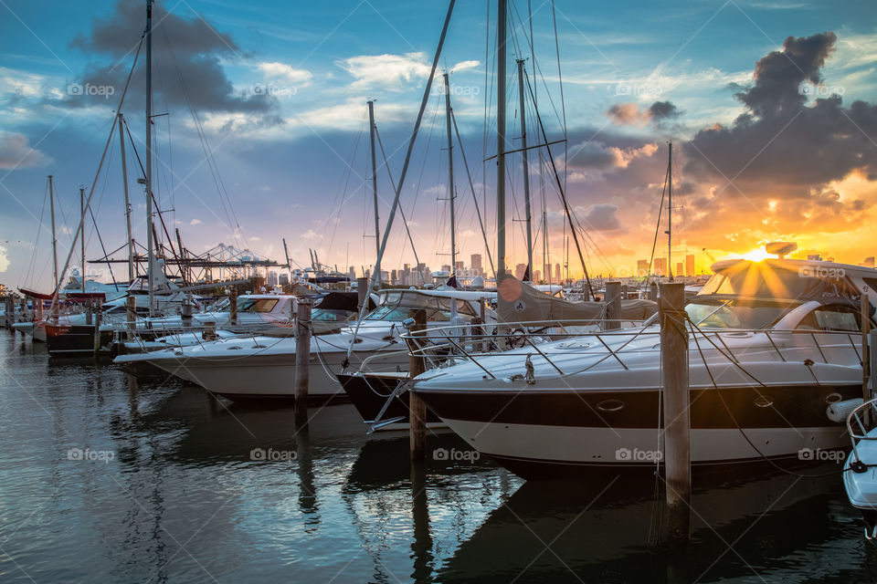 Miami Beach Marina at sunset