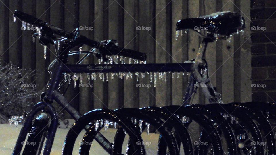 Ice storm bike, frozen bike