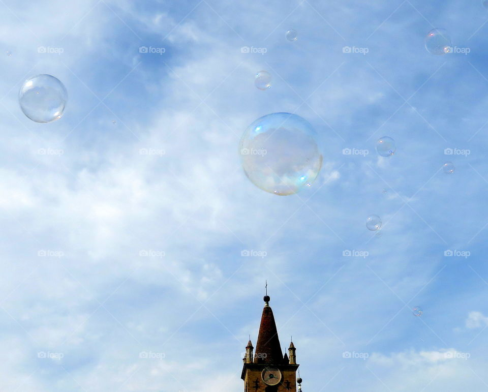 bubble in the sky over the church