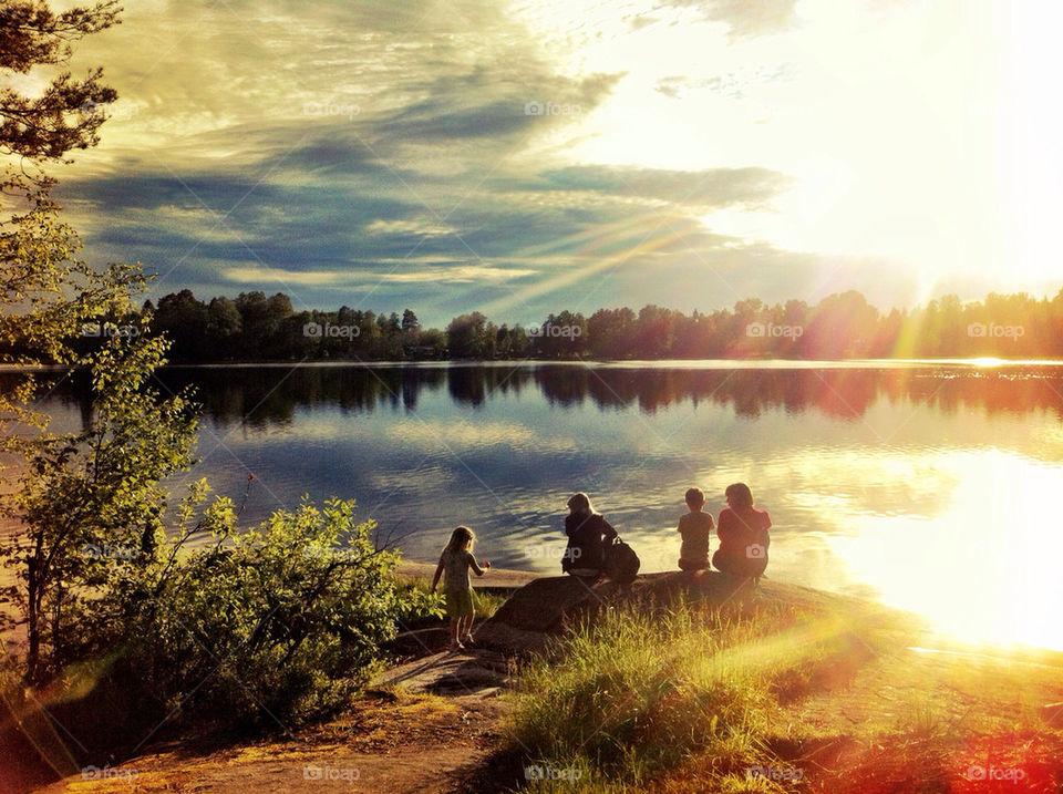 sweden summer sunset lake by buffy