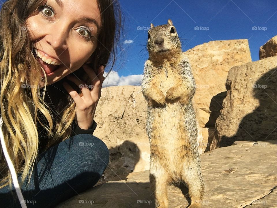 Selfie with squirrel at the Grand Canyon.