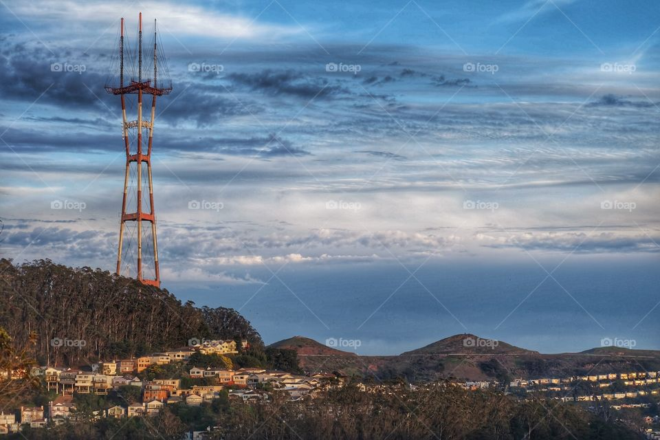 Sutro Tower is a 977 ft three-pronged TV and radio antenna tower in San Francisco, California. It rises from a hill between Twin Peaks and Mount Sutro near Clarendon Heights, it is a prominent feature of the city skyline and a landmark.