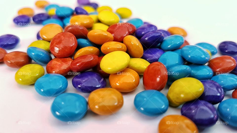 colored candy-coated chocolate