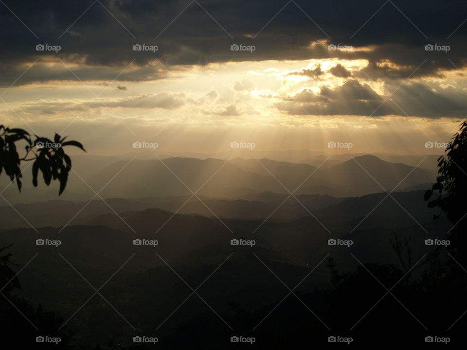 View of mountain at sunset