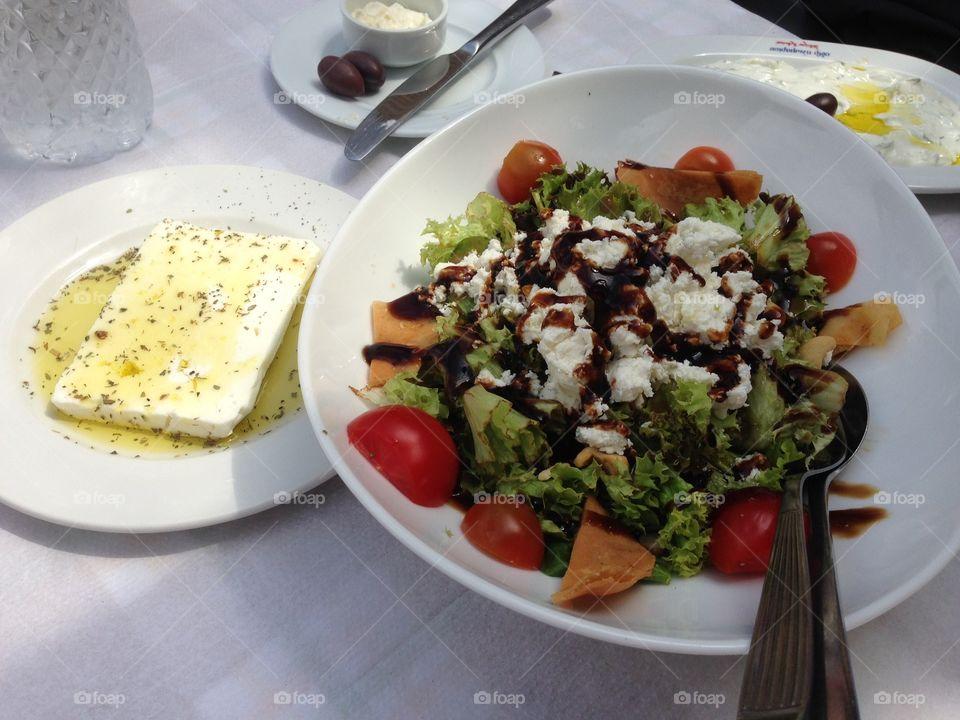 High angle view of greek salad