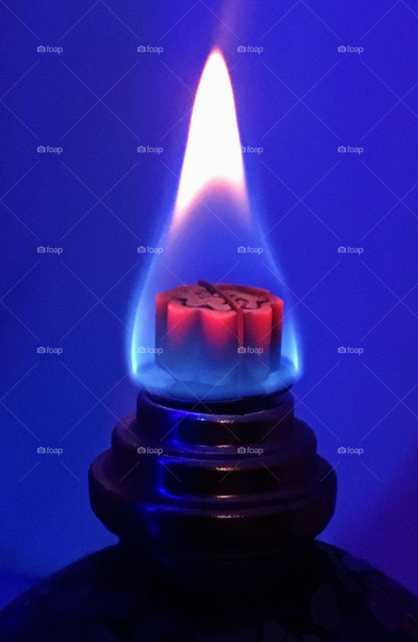 Close up of lamp flame