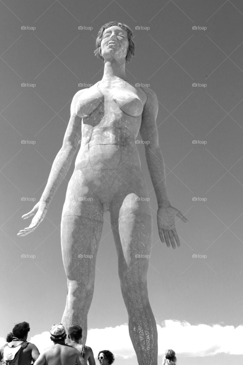 Woman. Sculpture of vulnerable and strong woman at Burning Man 2015
