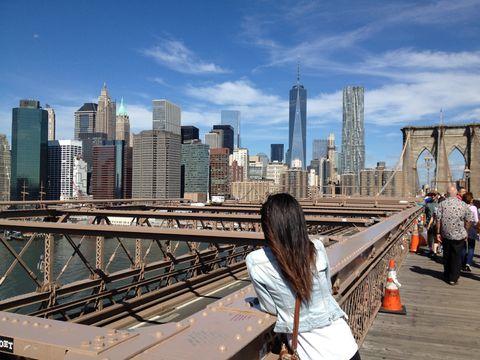 Woman's think. On the Brooklyn bridge