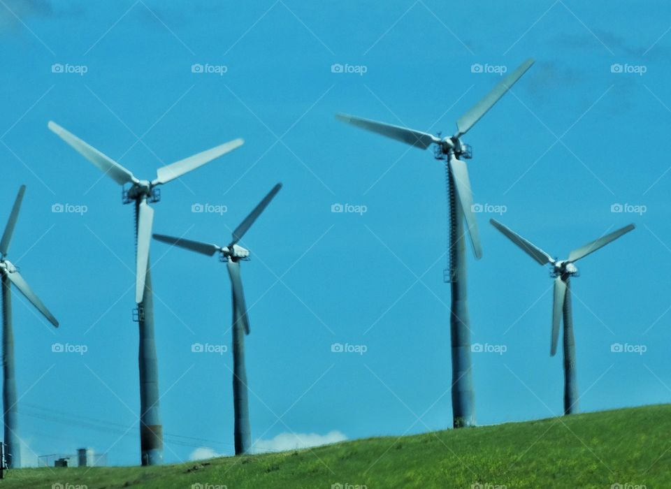Wind Power Turbines. California Green Energy Wind Power Turbines Generating Clean Renewable Electricity