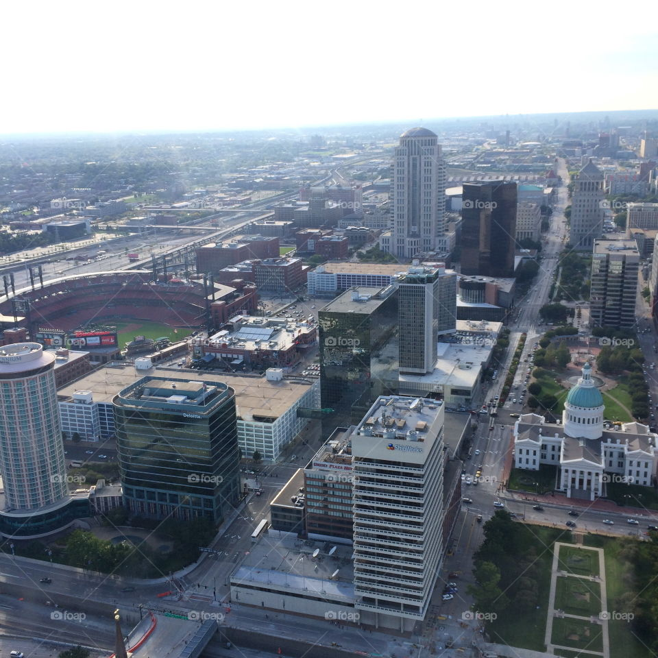 St Louis from the view at the top of the Arch. A photo of Busch Stadium and the capital of st Louis Missouri USA