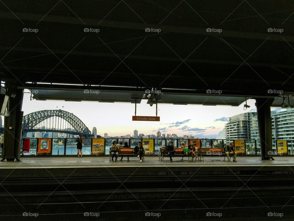 Harbor bridge view from the train station in circular quay, sydney