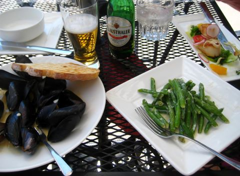 Lunching Al Fresco. Mussels and More on Lattice Table
