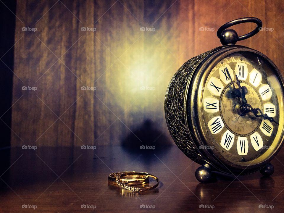 Close-up of old alarm clock