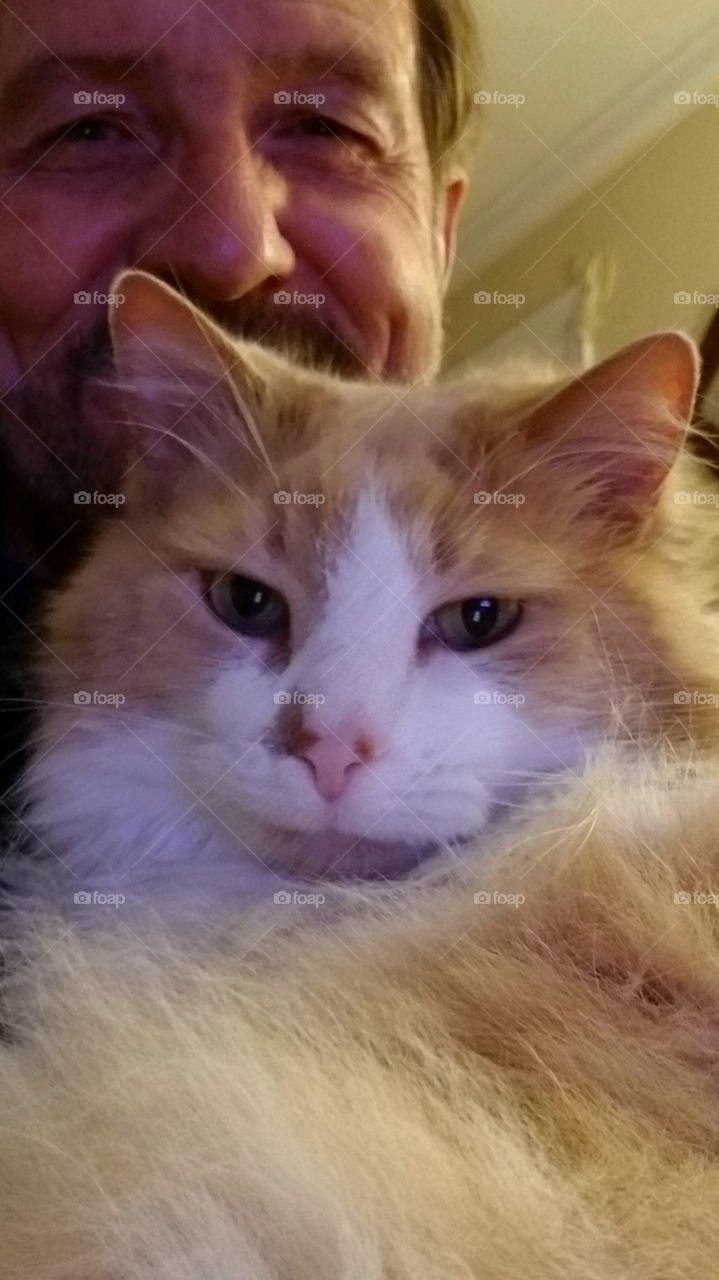 Selfie: Man and his Cat