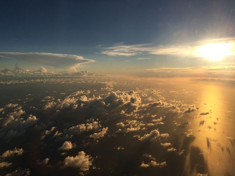 Beautiful sunset over the cloud