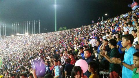 Soccer supporters Team Olympic National Stadium Phnom Penh Cambodia