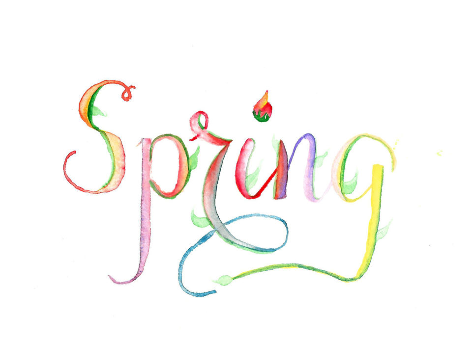 Spring lettering, typography, watercolor