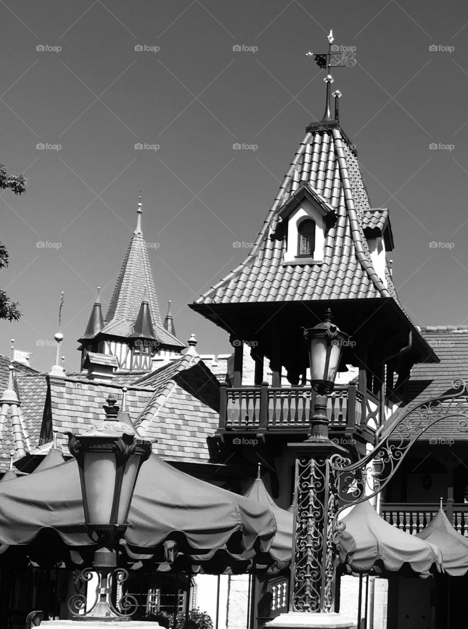 Rooftop images of European architecture. Pinocchio house in Walt Disney World. Black and white architecture.