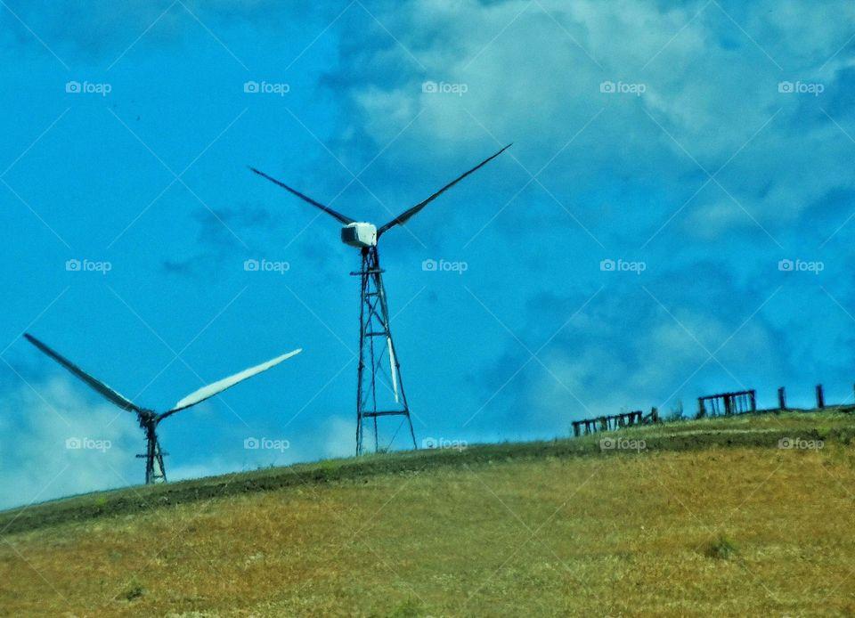 Wind Power Turbines. Wind Turbines Generating Clean Renewable Energy