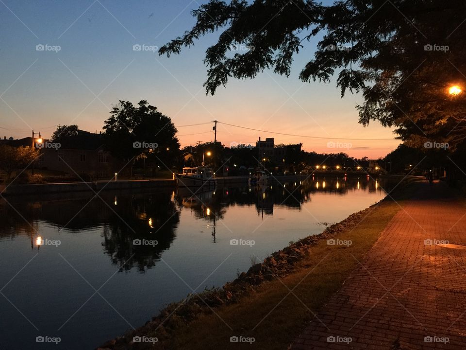 Sunset path . Walk in the evening hour at the Erie Canal