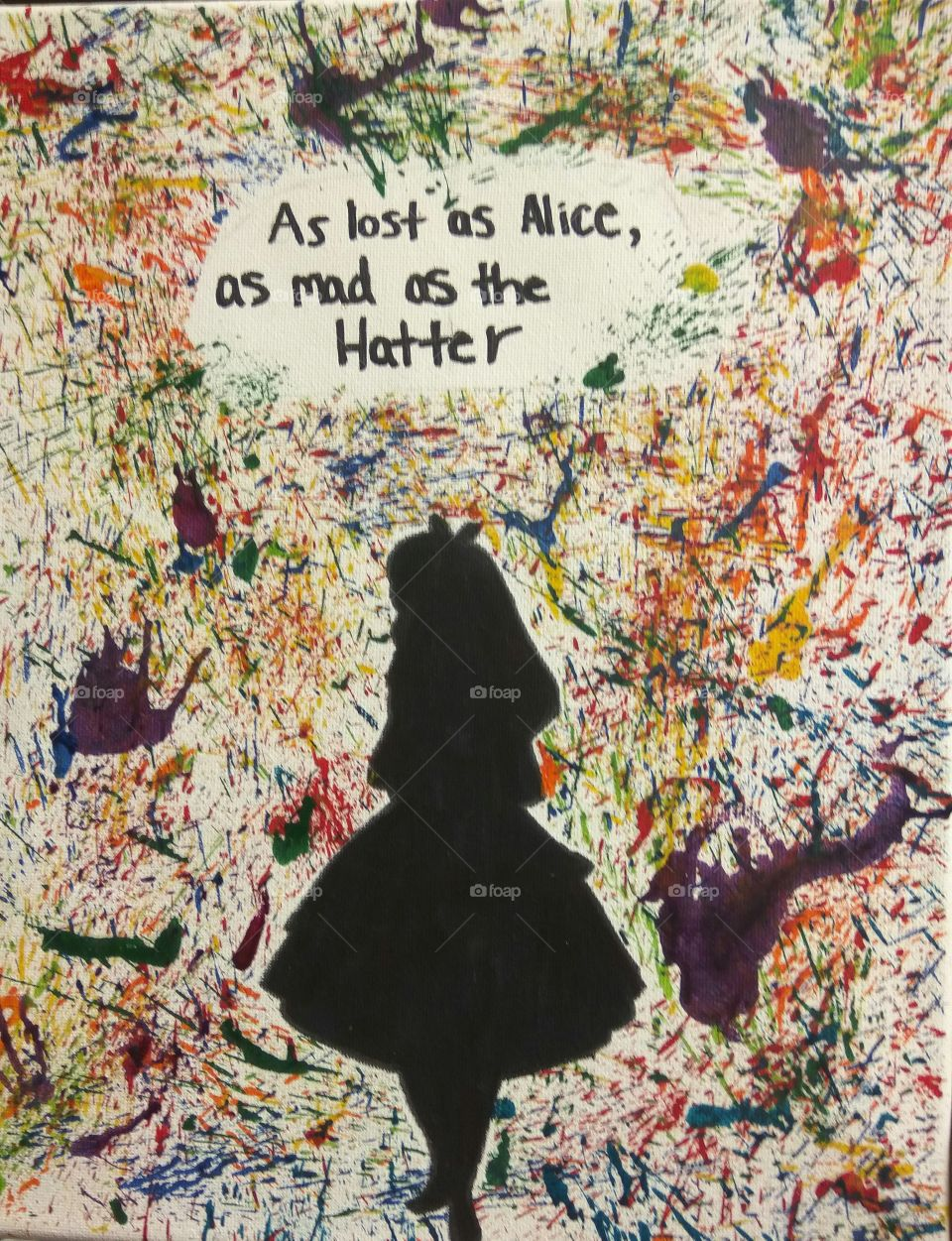 "beautiful, colorful, unique, chaos, crayon art, artistic, blow dryer, Alice in wonderland, ""as lost as Alice as mad as the hatter"""