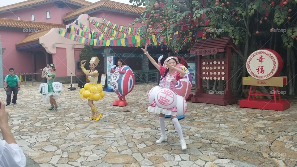 Hong Kong Easter Parade. In Ngong Ping Village on Lantau Island.