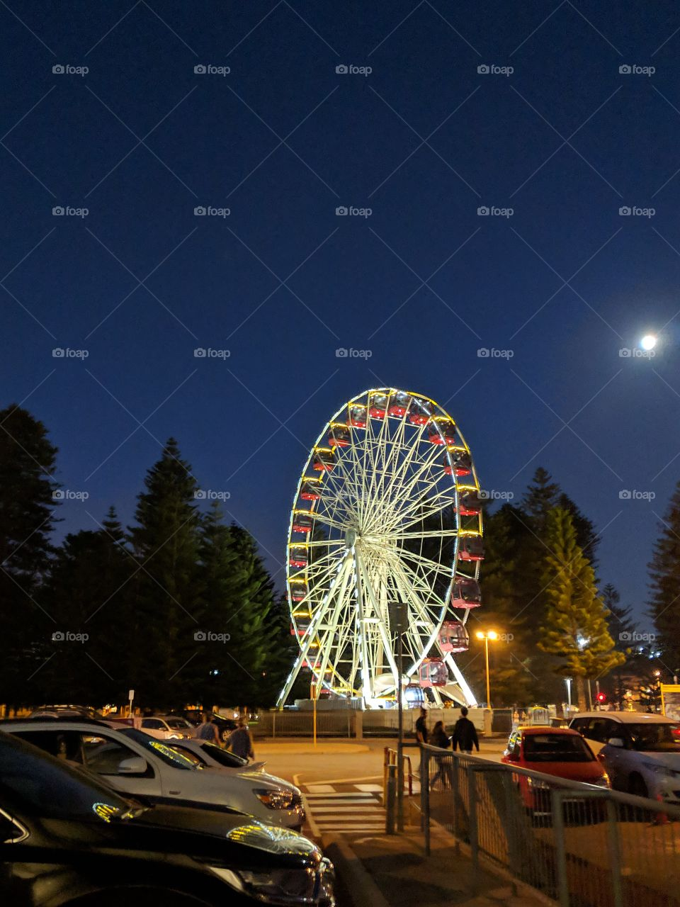 Ferris wheel under the night sky