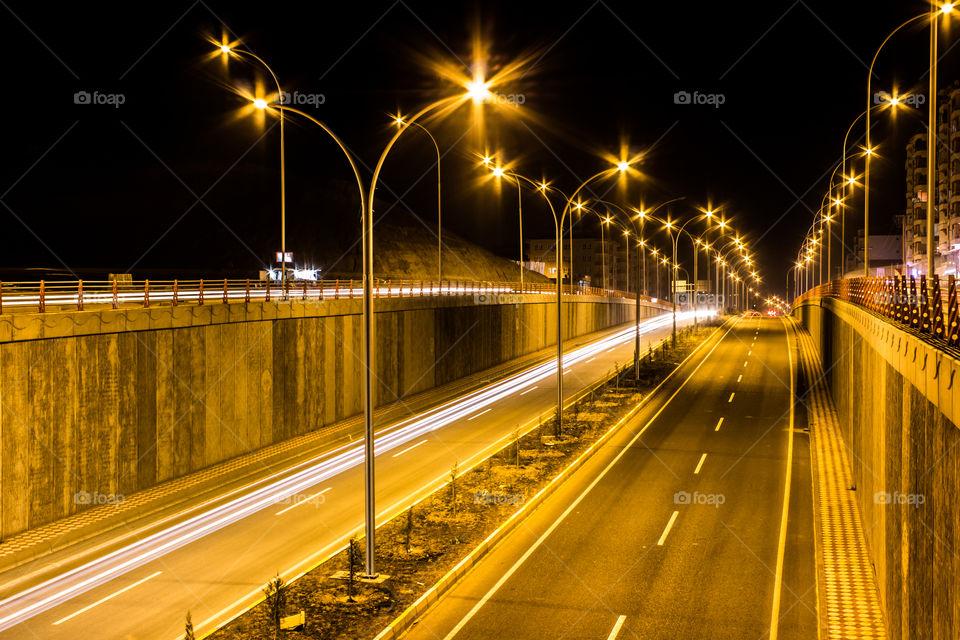 Very beautiful city lights and overpass