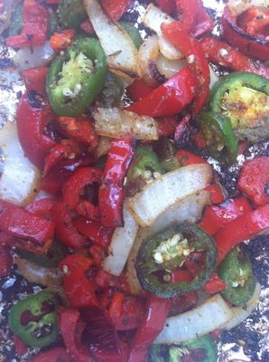 Grilled peppers and onions. Jalapeño peppers, red bell pepper, yellow onion