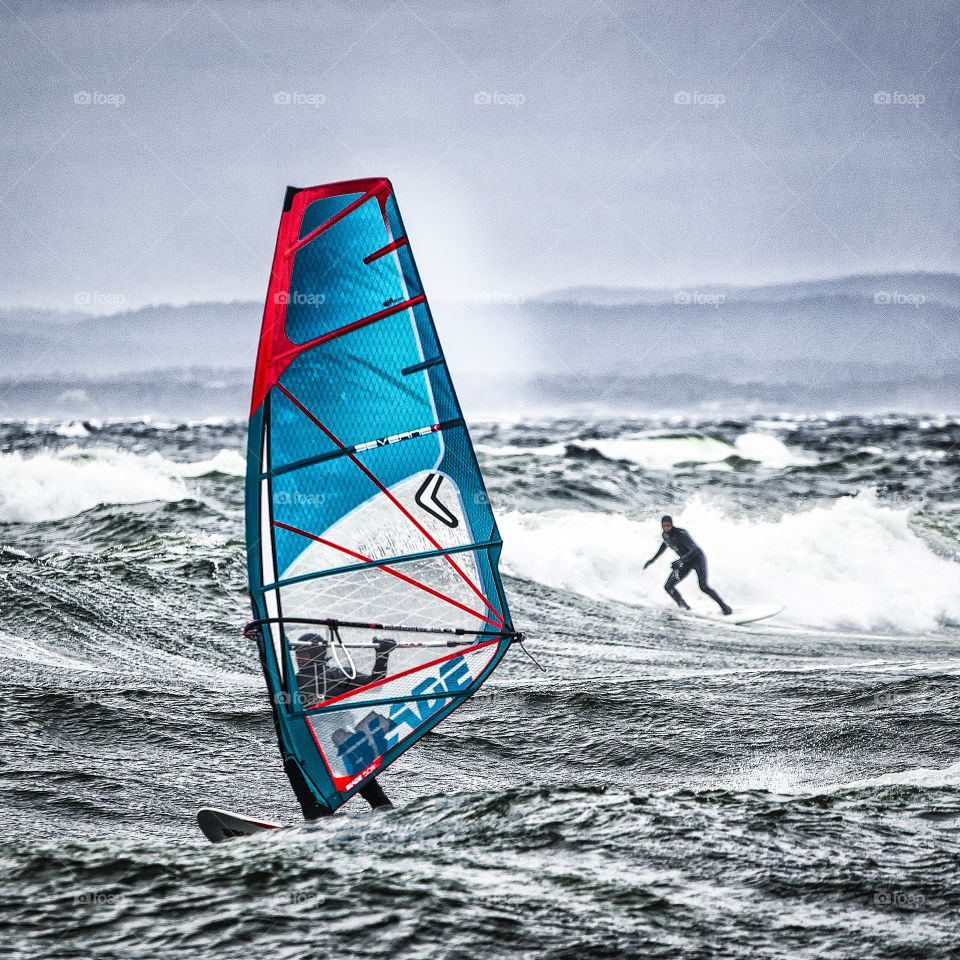 Surfing. Surfing and windsurfing outside Nevlunghavn Norway